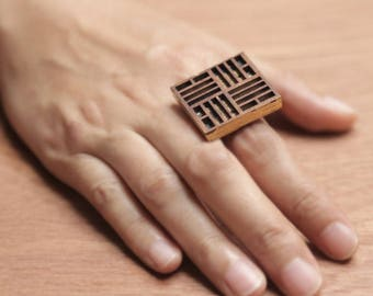Wooden laser cut hand painted square ring, Geometric square ring, Wooden jewelry, Gold leaft ring , Wooden ring, Geometry