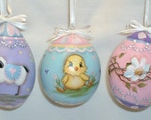 Set of 3 Gourd Easter Eggs -  Hand Painted - Lamb, Chick and Flowers