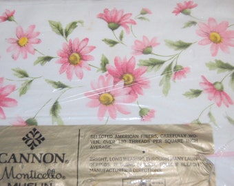 Vintage NEW Cannon FULL Flat Bed Sheet Pink Daisy Blossom Sealed All Cotton Muslin