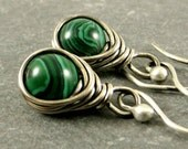 Malachite Earrings, Wire Wrapped Jewelry, Holiday Jewelry, Gifts for Her Under 30 Eco Friendly Gemstone Earrings
