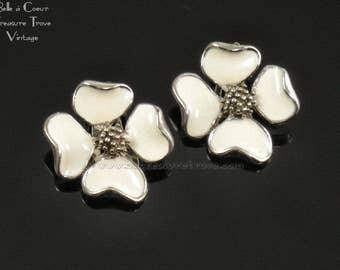 Dogwood Flower Vintage Clip Earrings White Enamel on Silvertone