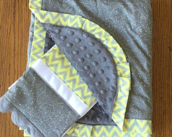 NEW...Gray Star Constellation Blanket and Burp Cloth ...Can Be Personalized