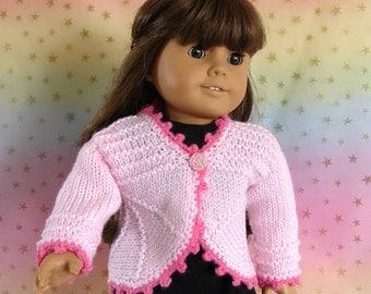 Pink Doll Sweater 18 inch Doll Pink Bolero Am Girl Doll Pink Bolero American Girl Doll Pink Sweater AG Doll Sweater Knit Doll Sweater