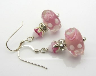 Lampwork Earrings Pink and White Earrings Glass Bead Earrings Dangle Drop Earrings With Heart SRAJD USA Handmade