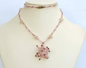 Rose quartz pendant Beadwork pendant of pink quartz and seed beads Birthstone jewelry with rose quartz Funny spiky pink pendant PN130