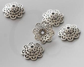 10 Pieces Oxidized Silver Tone Base Metal Caps-Flower 18.5x8mm (1687X-K-33A)