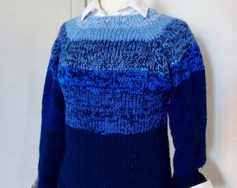 Hand Knit weekend sweater in blues