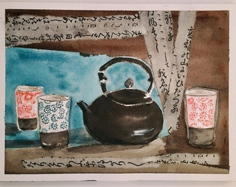 WATERCOLOUR / COLLAGE. Teapot and Teacups