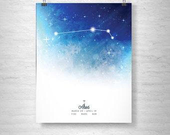 Aries Poster, Zodiac Aries Print, Zodiac Stars, Aries Constellation