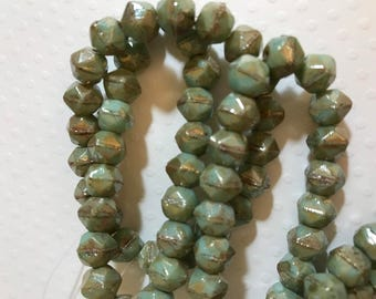 Czech Glass English Cut - 8mm Bead  Rough Cut, Modern Antique Style - Mint Turquoise Picasso - 20 beads
