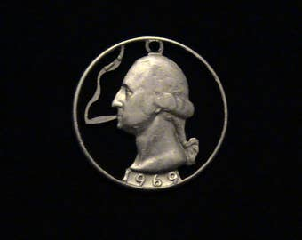 The Original George Blazing a Fat Joint Cut Coin Pendant - 1969