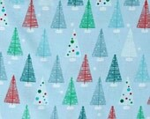 One (1) Yard -Swell Noel Christmas Holiday Trees by Robert Kaufman Fabrics ACK-15815-277 Winter Blue