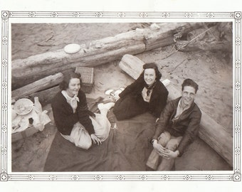 Original Vintage Photograph Snapshot Man Women Picnic at the Beach 1930s