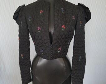 Vintage Quilted taffeta Black Bolero Jacket
