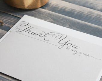 Elegant Thank You Card Set of Stationery, Calligraphy Stationary, Thank You Card Boxed Set, Custom Stationary - Megan