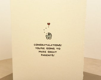 Congratulations! You're going to make great parents! new baby newborn greeting card cute adorable made in Canada stationery birth