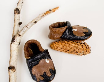 Bison on Black  Buffalo Soft Soled Leather Shoes Slippers Baby and Toddler