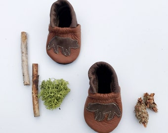 Grizzly Bear Soft Soled Leather Shoes Slippers Baby and Toddler