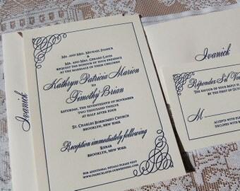 Letterpress Wedding Invitation Sample, Wedding invitation, Simple Wedding Invitation, Classic Wedding Invitations, Custom Invitations