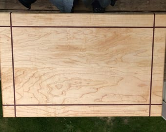 Large Solid Maple with Purple Heart Accents Cutting Board
