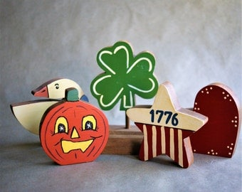 Vintage Holiday Display Stand for Valentines, St. Patrick's Day, 4th of July and Halloween 1980s 1990s Wooden Folk Art Craft