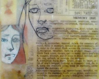 Encaustic painting, abstract art, feminist art, memory, illustration, two faces, gemini