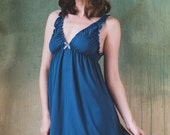 Blue/green Bamboo Nightie - Lingerie, underwear, sleepwear, nightgown, pyjama, plus size, organic, maternity, sexy, christmas, gift, lace