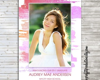 Watercolor Love photo graduation announcement - digital file