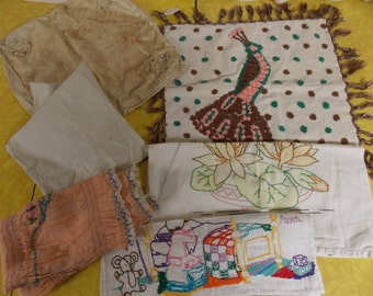 Lot vintage pillow slips/cases, hand made home made embroidery other