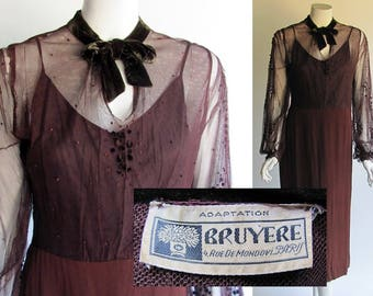 French Couture Designer, Bruyere, Vintage 1930s Dress / Adaption for US Store.  30s Dress in Net and Crepe with Velvet Neck Tie