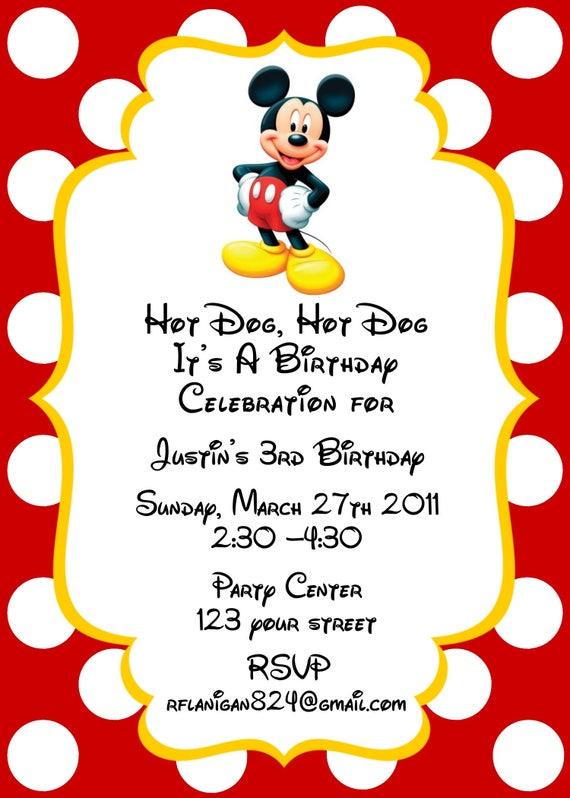 Girls or Boys Mickey Mouse Printable Birthday Party Invitation Digital Print Your Choice