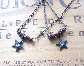 Sweet Petite Garnet Nugget & Brass Star Necklace Choker