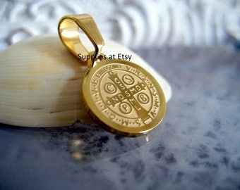 3 to 12pcs Catholic Medals St Benedict Stainless Steel gold Plated Saint Benedict Medals Charms-San Benito medalla dije-Spiritual Charms