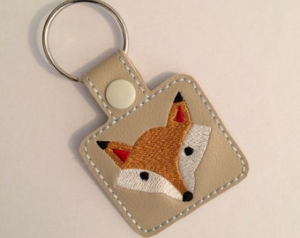 Fox (Stone) Embroidered Keyring