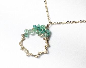 Emerald Necklace, Emerald Gemstone Pendant, Wire Wrapped, Gold Fill Gemstone Necklace, Sculptured Pendant, Birthstone, Gifts for Her