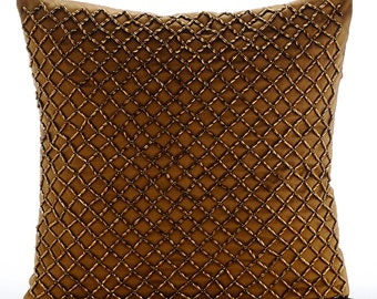 """Luxury Gold Trellis Decorative Pillows Cover, 16""""x16"""" Silk Throw Pillows Cover, Square Gold 3D Beaded Pillows Cover - Twisted Trellis"""