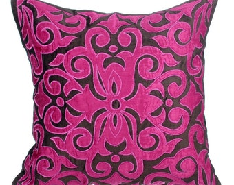"Applique Designer Throw Pillows Cover, 16""x16"" Fuchsia Pink & Brown Velvet Pillow Covers, Square Applique Pillow Cover - Fuchsia Kingdom"