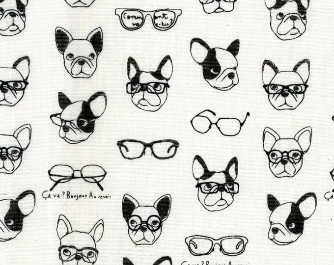 Half Yard Kokka Japan Fabric - French Bulldogs - Double Gauze Cotton - K6006A White