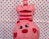 Vintage Japan IWAI Rare Pink Striped Cat Squeeze Toy Baby Big Eyed Doll