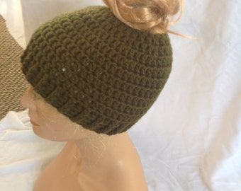 SALE - Army Green Top knot/Messy Bun Hat