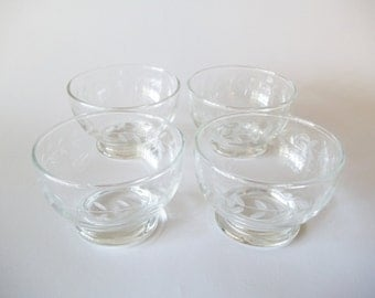 Anchor Hocking Laurel Fruit / Dessert Bowls, Cut Glass Footed Dishes, Set of 4, USA 1950s-1960s