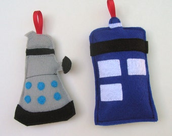 Dr. Who Ornament Dalek and Tardis Set of 2 for Christmas // Perfect Whovian Gift