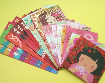18 Assorted Chinese Red Packets (cartoon and graphics)