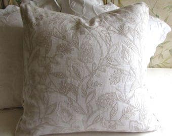 24x24 Ecru on White decorative linen embroidered fabric with piping