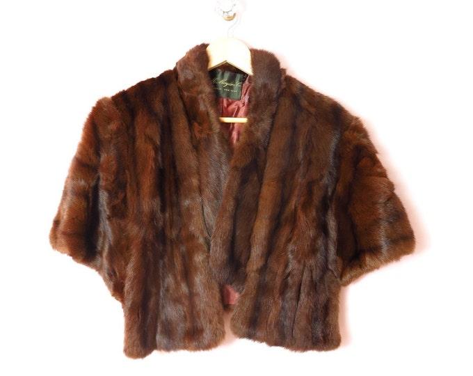 Vintage Fur Wrap   1940s Dark Brown Sable Wrap Stole