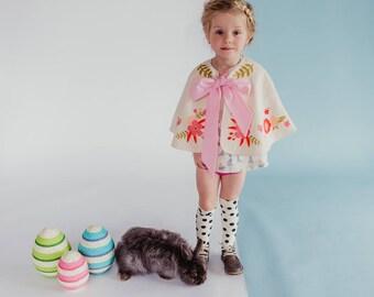 Spring Cape, Pink Flower Cloak, Easter Cape-let, Easter Basket Gift, Easter Gift for Girls