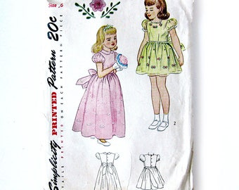1940s Girls Vintage Dress Pattern - Party Dress with Puff Sleeves, Embroidery / Flower Girl / Ankle Length Dress / Simplicity 1790 // Size 6