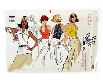 1970s Misses Sewing Pattern / Disco Era Halter Blouses / Backless Tops / Vintage Vogue 8599 / Size 10 UNCUT FF
