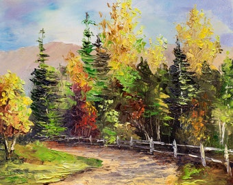 AUTUMN COLORS Framed Original Oil Painting Country Hills Scenic Rural Rustic Fence Dirt Road Land Red Orange Gold Leaves Pine Trees Aspen