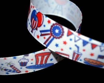 BBQ Ribbon, Patriotic Ribbon, Memorial Day Ribbon, 4th of July Ribbon, Picnic Ribbon, Cookout Ribbon, Grilling Ribbon, Food Ribbon